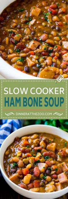 Slow Cooker Ham Bone Soup Ham and Bean Soup Ham Bone and Bean Soup Ham Soup Leftover Ham Recipe Ham Bone Recipes, Leftover Ham Recipes, Pork Recipes, Recipes With Leftover Ham Bone, Vegan Recipes, Slow Cooker Beans, Slow Cooker Soup, Slow Cooker Recipes, Spare Ribs