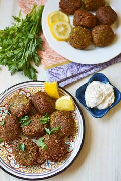 Learn how to make homemade Lebanese falafel recipe with dried chickpeas, loads of fresh herbs and warm spices. Serve with creamy tahini yogurt. Lebanese Falafel Recipe, Lebanese Recipes, Greek Recipes, Veggie Recipes, Vegetarian Recipes, Cooking Recipes, Healthy Recipes, Lebanese Cuisine, Homemade Tahini