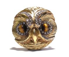 "Jeweled Gold Owl Brooch by Paul Robin Illustrated in Henri Vever's Book ""French Jewelry of the Nineteenth Century"" Diamond, Tiger's Eye, Paris circa"