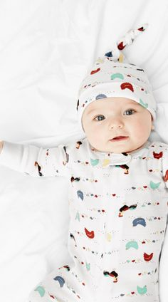 Here Chick Chick Print! Perfect baby organic cotton one piece sleeper - Hanna Andersson