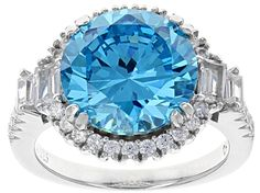 Blue & White Cubic Zirconia Rhodium Over Sterling Silver Center Design Ring 12.94ctw