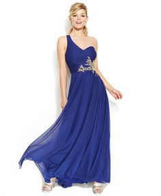 Joanna Chen One-Shoulder Ornate Bead Prom Dress #Macys #JoannaChenNY
