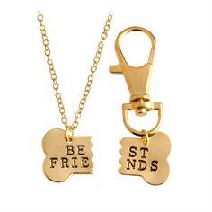 2pcs/set Dog Bone Best Friends Charm Necklace & Keychain