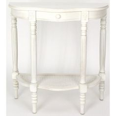 Antiqued white console table in a semi-circle shape to stand flush with the wall. Classic European design, with Queen Ann style scalloped, beveled top.