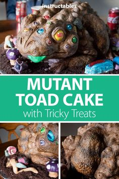 This mutant toad cake is almost too creepy to eat. Not only does it have 15 extra eyes, but it is also stuffed with gummy bugs and other tasty treats. Cake Decorating Classes, Cake Decorating Tutorials, Spooky Scary, Creepy, Birthday Candy, Cakes For Men, Toad, Yummy Treats, Bugs