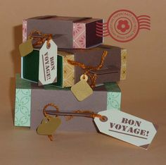 Enclose a small gift in the matchbox drawer. Bon voyage!             Graduated sizes!     Choice of tags.       A quick-make for the sum...