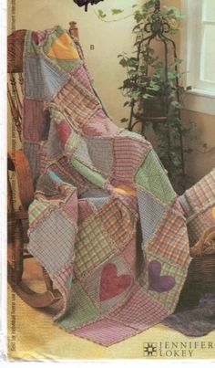 Quilting Rag Quilt Pattern Throws, Pillows McCalls Pattern 3901 via Etsy