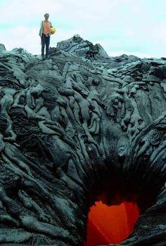 Lava formation at West Kamokuna Skylight, HI looks like corpses sliding into hell.