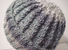 Hand Knitted Reversible Blue-White-Green Cable by MulliganYarns