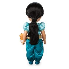 Designed by our Disney Animators, this gorgeous Princess Jasmine Animator Doll depicts the princess as a little girl. She features a beautiful satin outfit and is kept company by a mini soft toy Rajah. Princess Jasmine, Disney Princess, Disney Store Uk, Girl Hair Colors, Popular Toys, Walt Disney Animation Studios, Disney Dolls, Doll Eyes, Aladdin