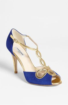 """L.K. Bennett 'Nelly' Sandal   Precision gilt marries royal appeal with Egyptian edge for a crowning achievement in evening-ready elegance.          Adjustable strap with buckle closure.          Approx. heel height: 3 1/2"""".          Suede and metallic leather upper/leather lining and sole.          By L.K. Bennett; made in Spain."""
