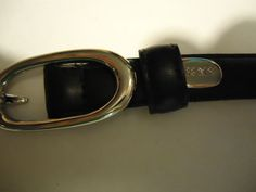 Authentic NEW DKNY Black Full Grain Leather Belt Silver Hardware Size S/P  #DKNY