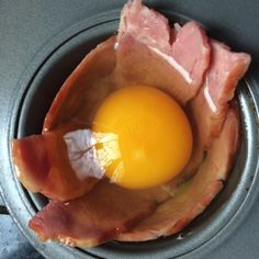 375 for 13-15 minutes. 2 slices turkey bacon in muffin tin. I wrapped in a circle and one cut in half and laid across the bottom