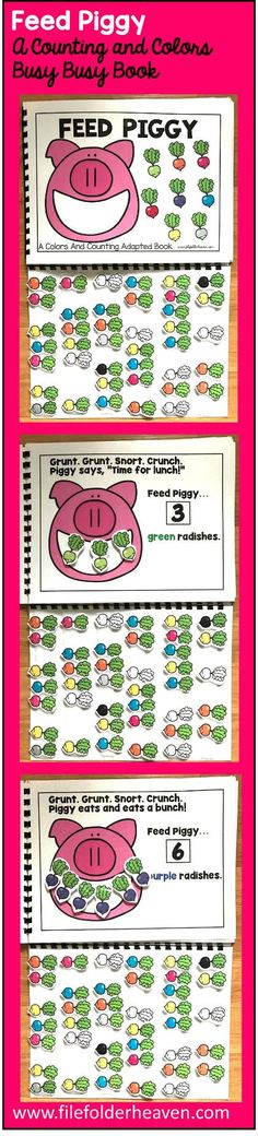 This Feed Piggy Colors and Counting Adapted Book is an adapted book that focuses on colors and counting in a fun and interactive way.  In a small group, independent center or independent work station. A teacher or student reads through the book and feeds the animal or critter, the correct number and color the food on each page.  Sample text: