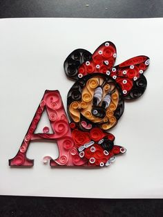 #Quilling Quilled Minnie Mouse www.facebook.com/mrslamontcrafts