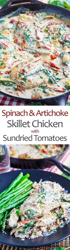 Spinach and Artichoke Skillet Chicken with Sundried Tomatoes Recipe : A quick and easy, one pan spinach and artichoke chicken with sundried tomatoes! All of the flavours of spinach and artichoke dip in a light and tasty chicken dinner! Sundried Tomato Recipes, Sundried Tomato Chicken, Spinach Stuffed Chicken, Healthy Chicken Recipes, Cooking Recipes, Skillet Recipes, Chicken Meals, Skillet Meals, Chicken Bacon