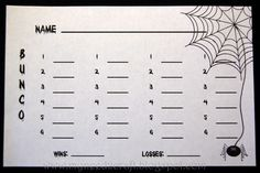 bunco score sheets | The Bunco score sheets using the Bloody font and