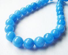 Sea Blue Round Jade Beads  Blue Smooth Round Ball by BijiBijoux