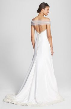 Olia Zavozina Removable Illusion Halter Lace Trim Silk Shantung Gown (In Stores Only) | Nordstrom