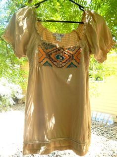 RXB WOMENS HIPPIE BOHO SHORT SLEEVE BEIGE PEASANT BLOUSE SIZE S #RXB #Blouse #Casual