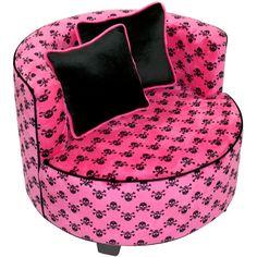 Redondo Tween Minky Chair, Hot Pink Skull. I SOOOO love this.