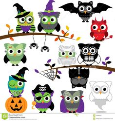 vector-collection-spooky-halloween-owls-37806222.jpg 1,300×1,371 pixels