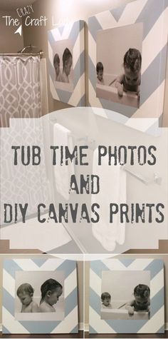Bath Time Photos and DIY Canvas Prints - what a fun and creative idea for art and decor in your bath!