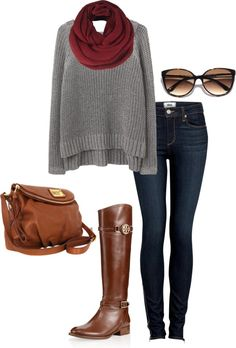 A fashion look from August 2012 featuring rag & bone/JEAN sweaters, Paige Denim jeans and Tory Burch boots. Browse and shop related looks. Mode Outfits, Casual Outfits, Fashion Outfits, Womens Fashion, Fall Winter Outfits, Autumn Winter Fashion, Estilo Jeans, Moda Chic, Winter Mode