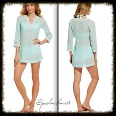 Chevron Sequin V Neck Tunic From Antonio Melani, this sequin tunic features: split V-neckline 3/4 sleeves sequin trim pull-on styling polyester hand wash. This is shown as a cover up but can also be worn as a top. #38 ANTONIO MELANI Swim Coverups