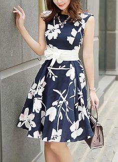Blue Floral Belt Bow Sleeveless Sweet Mid i Dress Casual Dresses, Short Dresses, Fashion Dresses, Girls Dresses, Summer Dresses, Casual Outfits, Pretty Dresses, Beautiful Dresses, Dress Skirt