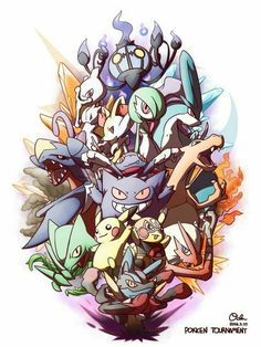 Gengar High Five Highres Lucario Mask Mega Evolution Mewtwo Nintendo Oden Open Mouth Pikachu Libre Pokemon Creature