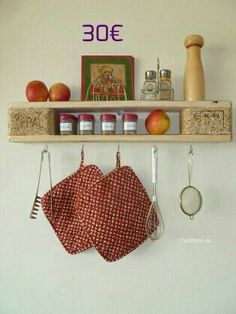 Küchenregal Kitchen Rack, Etsy, Design, Home Decor, Bonito, Wall Shelf With Hooks, Pallet Ideas, Crates, Shelves