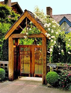 To ensure that your arbor gate is the perfect addition to your yard, match the style and angle of the archway with the roof of your house. - Door / Entry - Garden / Yard - House Exterior