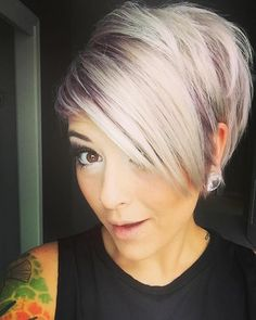 Oh hey white hair ♥ - Hair - Lilac Hair Short Sassy Hair, Cute Hairstyles For Short Hair, Pixie Hairstyles, Pretty Hairstyles, Short Hair Cuts, Short Hair Styles, Love Hair, Great Hair, Corte Y Color