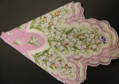 Vintage Scalloped Lavender Handkerchief - Made in the Philippines - Unused