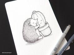 Hedgehog and cactus, Pen Illustration