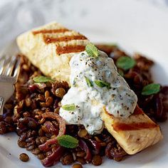 Griddled Salmon Fillets with Spicy Lentils