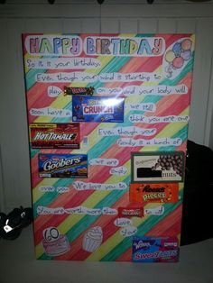 Birthday card to my dad Made with candies as the words