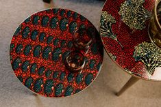 Red African wax fabrics African Theme, Nesting Tables, African Design, Repurposed, Wax, Artisan, Inspiration, Collection, Fabrics