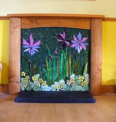 mosaic fireplace - this creates all kinds of images in my mind of areas around the house that would greatly benefit from a mosaic application! Mosaic Tile Art, Mosaic Diy, Mosaic Crafts, Mosaic Projects, Mosaic Glass, Mosaic Fireplace, Faux Fireplace, Fireplace Screens, Mosaic Flowers
