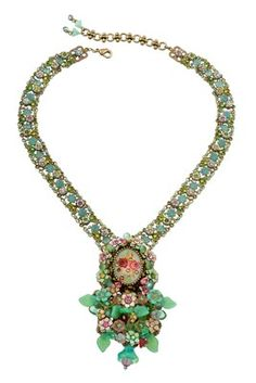 Majestic Michal Negrin Tiered Necklace w Hand-Painted Flowers Bouquet & Crystals