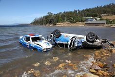 It was an unexpectedly wet finish for two competitors as their cars took an impromptu dip into the Huon River during last month's Targa Wrest Point rally in Car Breaks, Old Race Cars, Ford Capri, Rally Car, Subaru, Mustang, Pista, Racing, Boat