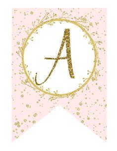 Pink Gold Baby Shower Banner, Pink Gold Printable Banner, Pink Gold Birthday Banner, DIY Pink Gold Glitter Banner - Printables 4 Less - matilda Pink Gold Birthday, Gold Birthday Party, Birthday Cake, Gold Banner, Diy Banner, Diy Halloween, Printable Banner Letters, Blank Banner, Diy Birthday Banner