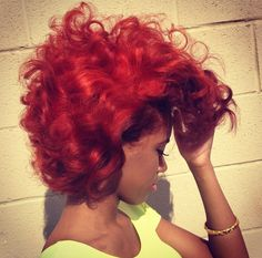 Red hair color. Natural hair textures