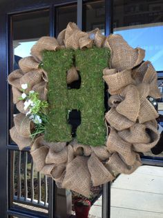 Burlap wreath with mossed letter- front door decor for spring