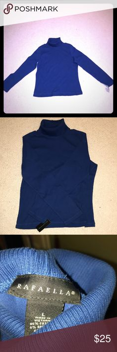 Turtleneck ribbed shirt Very pretty blue turtleneck type ribbed shirt. Thin enough material but not super thin. Never worn, still has tags. Rafaella Tops