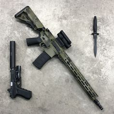 Lone Star Armory Multi Purpose Carbine finished in Multicam Tropic Cerakote by Infinity Finishing Glock 17 w/ KKM barrel, and Silencerco Octane 9 Gerber MkIII combat knife Military Weapons, Weapons Guns, Airsoft Guns, Guns And Ammo, Zombie Guns, Larp Armor, Battle Rifle, Long Rifle, Combat Knives