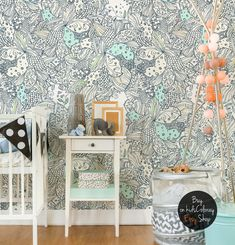 Fairytale Birds Branches wallpaper Colorful leaves wall mural