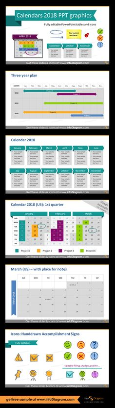 Calendars 2018 timelines graphics US format (PPT tables and icons
