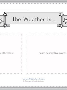 Cut and paste images and words related to weather. Science Worksheets, Worksheets For Kids, Printable Activities For Kids, Educational Activities, Cut And Paste Worksheets, Descriptive Words, Images And Words, Weather, Kids Worksheets